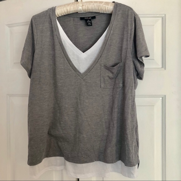 395c41969 Style & Co Tops | Style Co V Neck Layered Plus Size Gray White Top ...